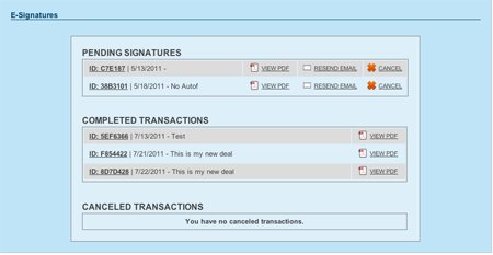 BULL Forms Colorado DORA E-signature Transaction List