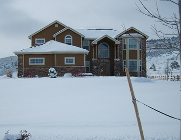 Colorado house in the snow